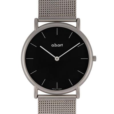 a.b.art KL系列 超薄極簡不鏽鋼編織帶腕錶-黑/38mm