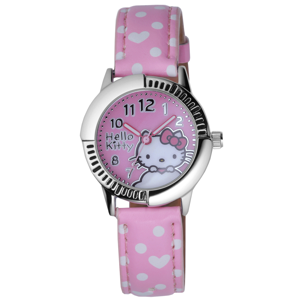 Hello Kitty 雲點朵朵俏麗腕錶-粉紅/28mm