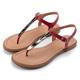 ORIN夏日時尚風金屬飾釦T字牛皮夾腳涼鞋紅色