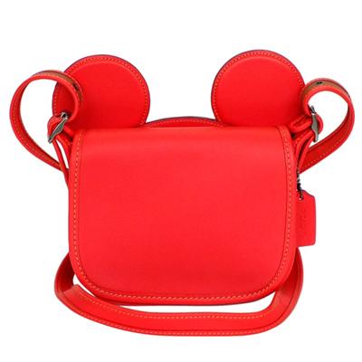 COACHXDISNEY聯名款紅色全皮MICKEY耳朵翻蓋斜背包(小)