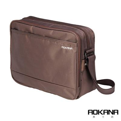 AOKANA 商務旅者Elda系列 商務出差斜背包多隔層設計(咖啡)02-037