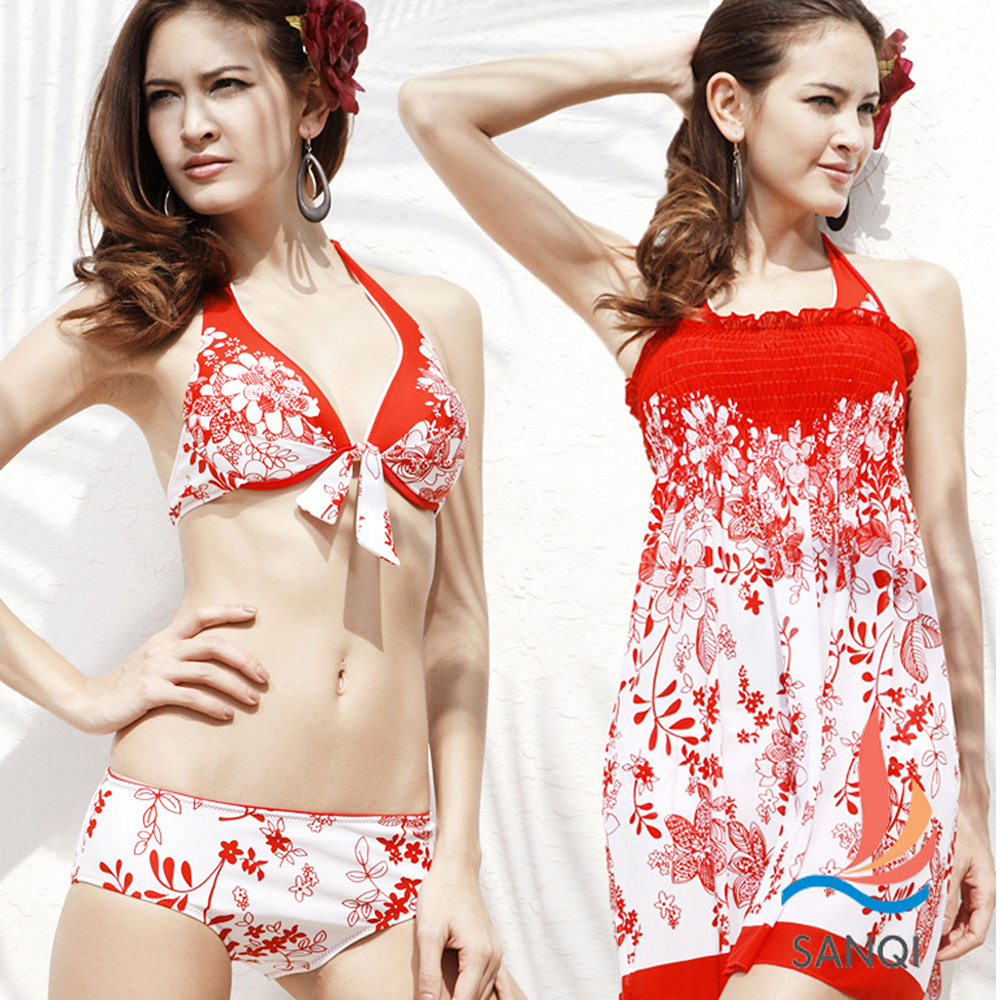 SANQI三奇 閃耀計劃 三件式鋼圈比基尼泳衣(紅M~XL)