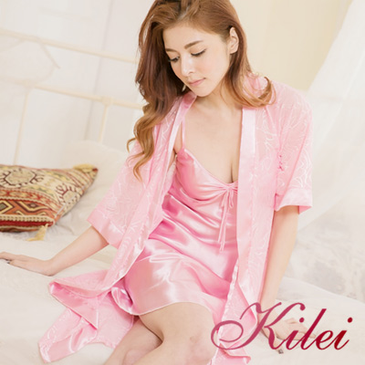 睡衣-緞面蝶結肩帶睡裙-玫瑰蕾絲睡袍二件式睡衣組-溫柔粉紫-Kilei綺麗