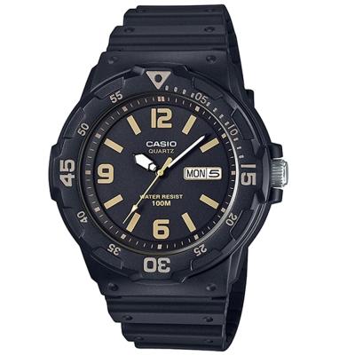 CASIO 潛水風指針錶(MRW-200H-1B3)-金時刻度/47.9mm