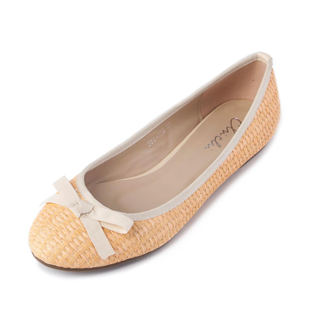 Chichi夏日清甜-可愛麻編舒適平底鞋*桔色