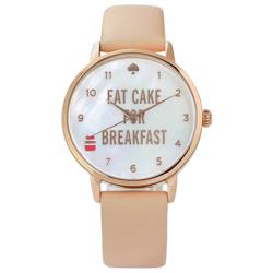 kate spade Metro 享受早晨珍珠母貝真皮手錶-白x玫瑰金框x粉杏/34mm