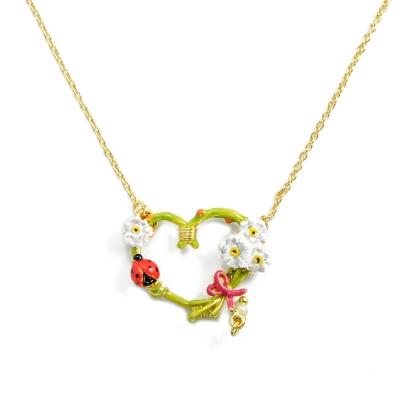 Les Nereides 春暖花開系列 浪漫可愛甜美嫩綠愛心小白花朵昆蟲水鑽項鍊