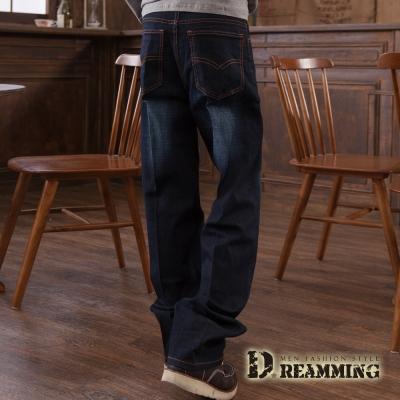Dreamming 美版質感刷色彈力中直筒牛仔褲-深藍