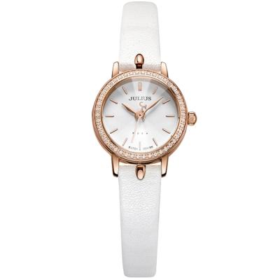 JULIUS聚利時 璀璨華爾滋鑽飾真皮腕錶-白色/23mm