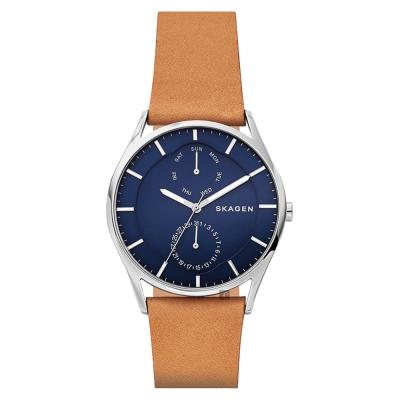 SKAGEN Holst 日曆時尚手錶(SKW6369)-藍x棕/40mm