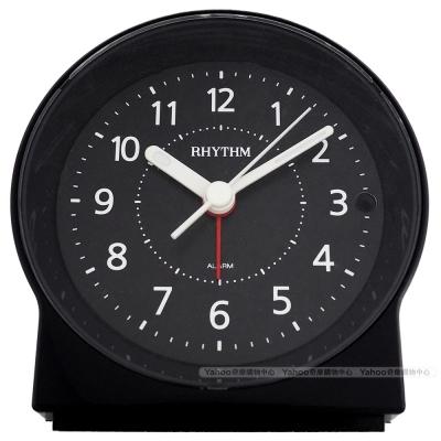 RHYTHM麗聲 極致靜音簡約黑白夜光鬧鐘-沉靜黑/10cm