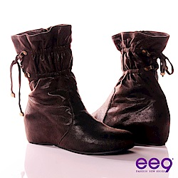ee9 精靈美姬束口綁繩側邊拉鍊內增高中筒靴 咖色
