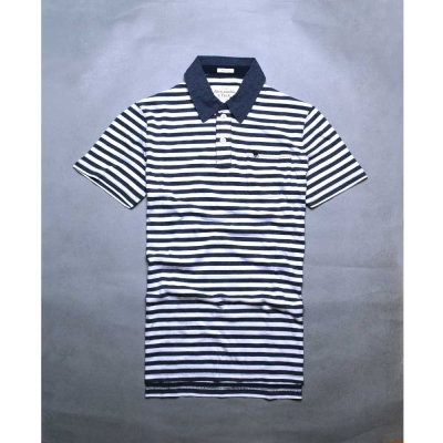 A&F Abercrombie & Fitch 麋鹿刺繡細條紋短袖POLO衫-藍/白