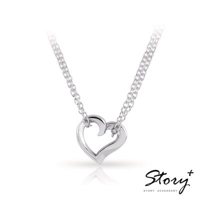 STORY故事銀飾-簡單的心-純銀項鍊(白K金)