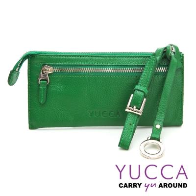 YUCCA - 俐落多彩手挽式長夾-草綠色10797059C35