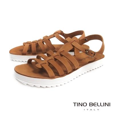 Tino Bellini 希臘進口羅馬休閒平底涼鞋_棕