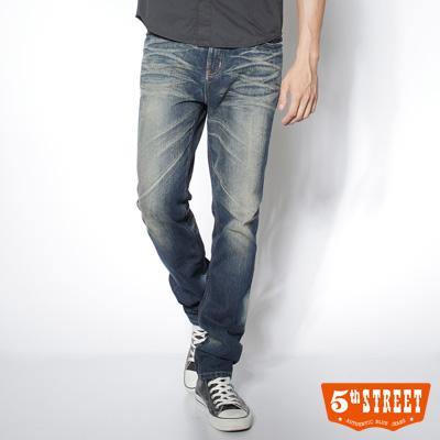5th STREET 刷色小直筒牛仔褲-男-酵洗藍