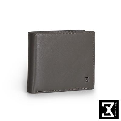 74盎司 Plain 真皮橫式短夾(零錢袋)[N-499]灰