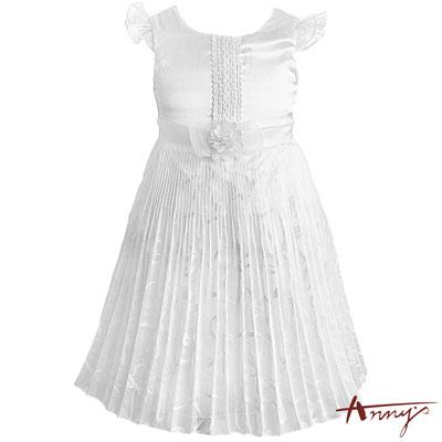 Annys時尚波紋百褶立體荷葉飛袖蕾絲洋裝*7115白
