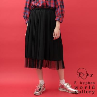 E hyphen雪紡薄紗拼接雙層次七分百摺裙