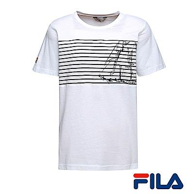 FILA男仕帆船圖騰T恤(優雅米)1TER-1700-IV