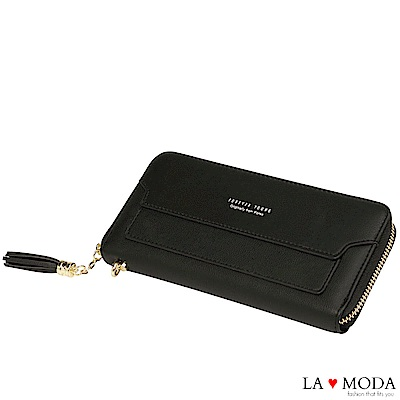 La Moda 熱銷經典流蘇手挽大容量長夾手機包(黑)