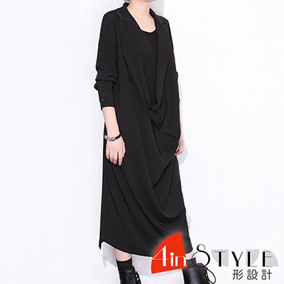 簡約純色堆堆領七分袖洋裝 (黑色)-4inSTYLE形設計