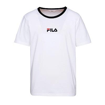 FILA 男款純棉圓領T恤-白 1TES-1531-WT