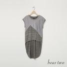 beartwo 異材質拼接前短後長造型上衣(二色)