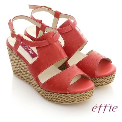 effie 夏日渡假 全真皮壓紋蝴蝶楔型涼鞋 紅