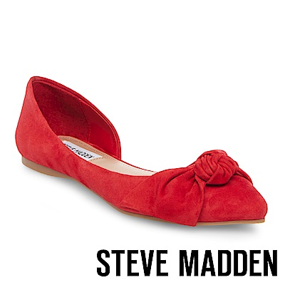 STEVE MADDEN-ENCHANT 麂皮扭結尖頭側空低跟鞋-紅色