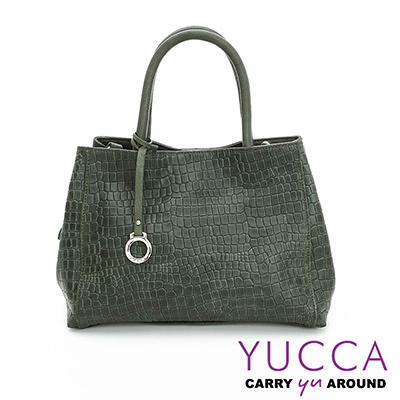 YUCCA -熱銷鱷魚紋牛皮氣質甜美手提包-墨綠色 D0103006C76