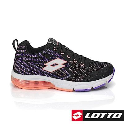 LOTTO 義大利 女 編織氣墊跑鞋3  ( 黑/珊瑚橘)