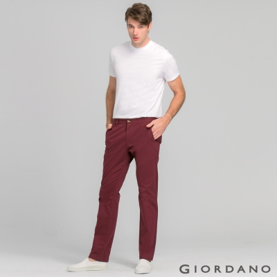 GIORDANO男裝簡約素色彈力棉休閒長褲-27 深紅色
