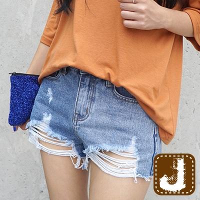 正韓 個性刷破抽鬚潮擺短褲-(藍色)100%Korea Jeans