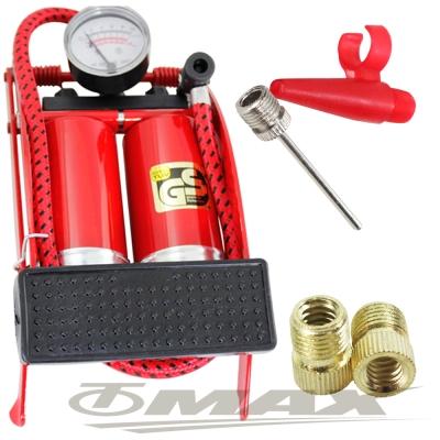 鐵馬行台製雙管打氣筒+4件式充氣組