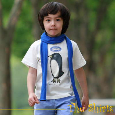 【The Shirts】蠟筆彩繪小企鵝短袖T恤 (共二色)