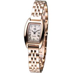 Rosemont 玫瑰系列酒桶型時尚腕錶-玫瑰金色款/19x22mm