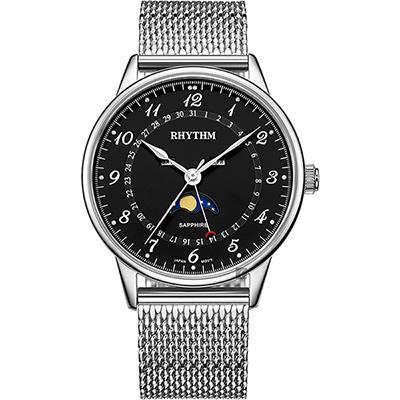 RHYTHM 日本麗聲 潮時尚米蘭帶日月相手錶-黑x銀/43mm