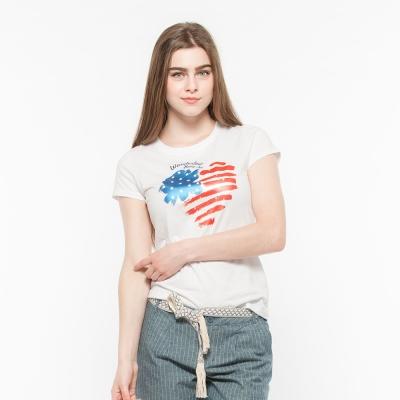 Hang Ten - 女裝 - 有機棉 趣遊美國印圖T-Shirt -白