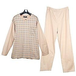 BURBERRY經典格紋V領純棉休閒家居服套組-淺駝色