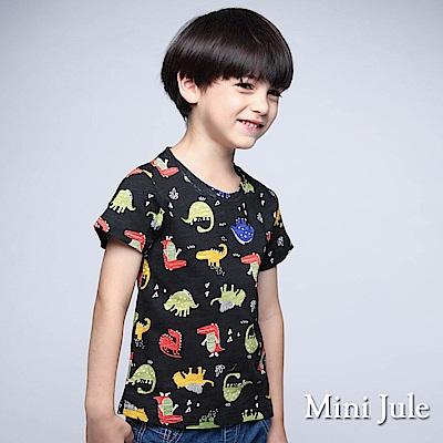 Mini Jule 童裝-上衣 彩色多款恐龍短袖竹節棉T(黑)