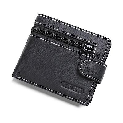 JINBAOLAI  GT1728BK頭層牛皮三折搭扣皮夾附零錢包黑色