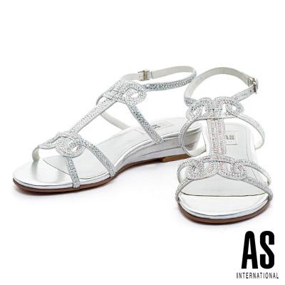 涼鞋-AS-燙鑽羅馬楔型低跟涼鞋-銀