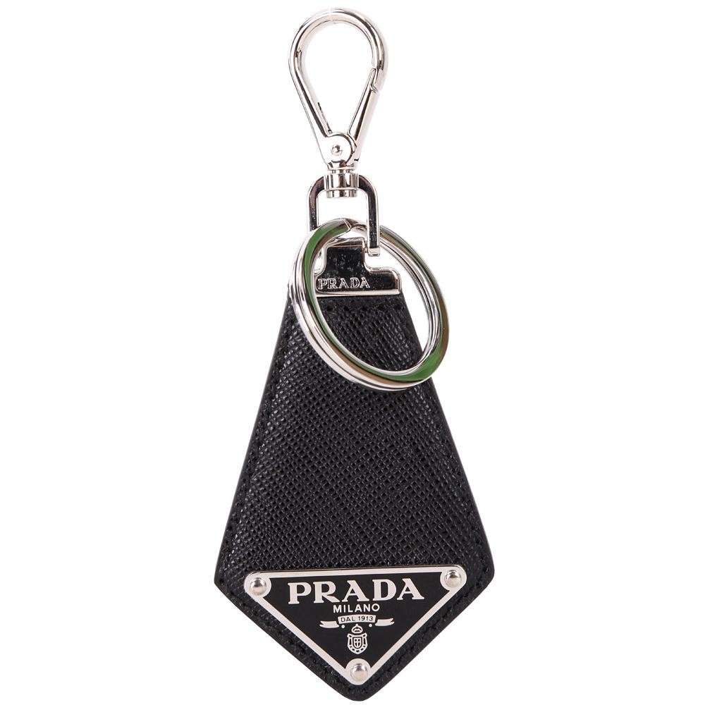 Prada Saffiano 三角牌防刮牛皮鑰匙圈(黑色)PRADA