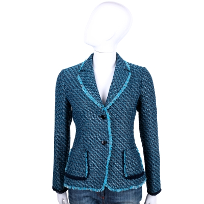 TRUSSARDI 藍色流蘇設計排釦外套