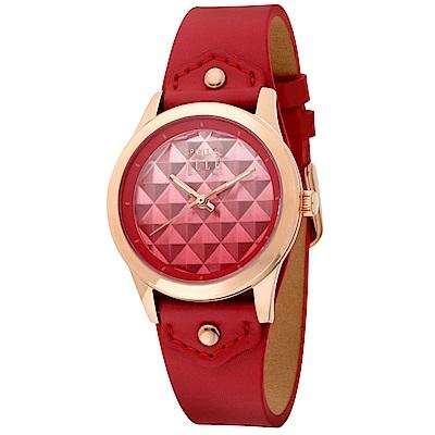 ELLE  立體漸層菱格無時標皮革腕錶-紅色/金色-35mm