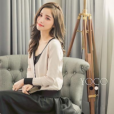 東京著衣 小香氣質開襟珍珠排釦撞色針織外套-S.M.L(共二色)