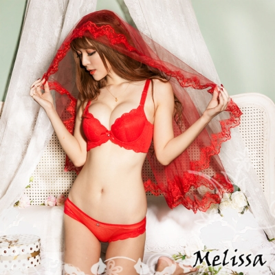 內衣 豐厚棉爆乳成套內衣AB罩杯(晶艷紅) 艾莉絲
