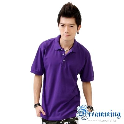 Dreamming 美式素面網眼短袖POLO衫-深紫/淺紫(二色)